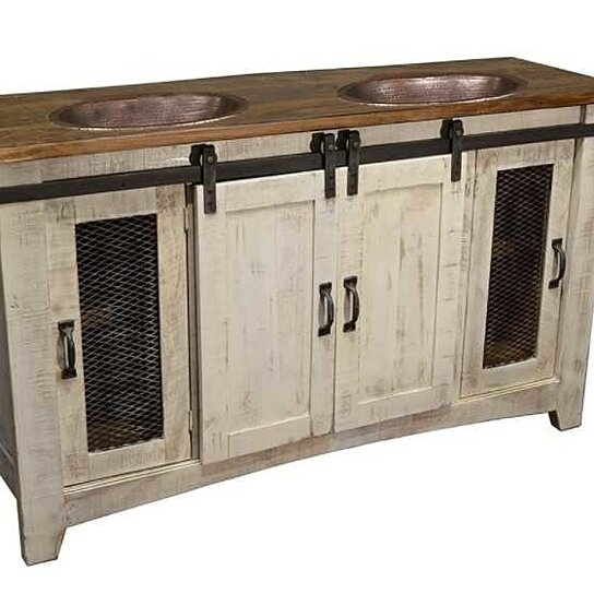 Buy 70 White Farmhouse Sliding Barn Door Double Sink Bathroom