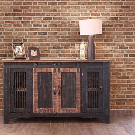 Buy Anton Black Finish 60 Rustic Sliding Barn Door TV Stand Console By Burleson Home Furnishings On Dot Bo