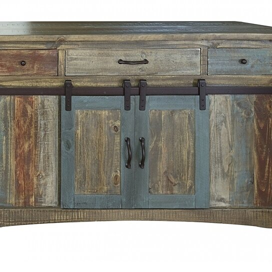 Buy Anton Multi Color Sliding Barn Door Kitchen Island By Burleson Home Furnishings On Dot Bo