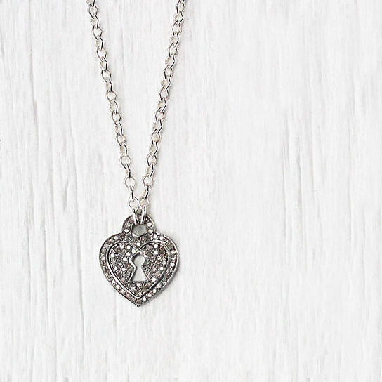 Buy cij sale diamond heart charm necklace sterling silver key lock buy cij sale diamond heart charm necklace sterling silver key lock pendant engagement love mothers day april birthstone everyday necklace by byjodi on mozeypictures Image collections