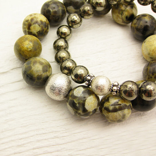 Buy frog jasper statement bracelet mustard yellow olive for Mustard colored costume jewelry