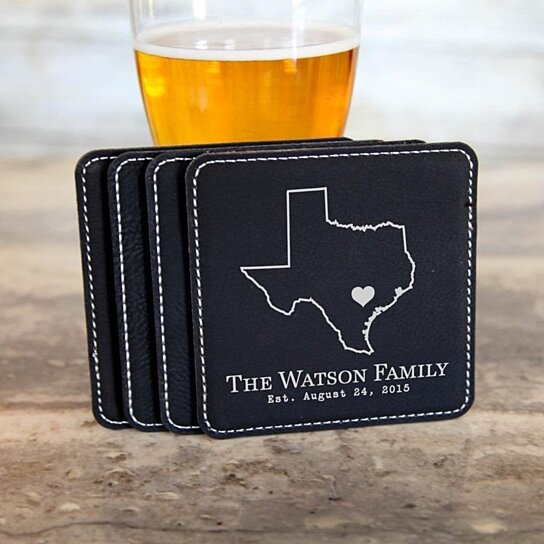 42 Wedding Anniversary Gift: Buy Personalized Leather Coasters~ State Outline Family