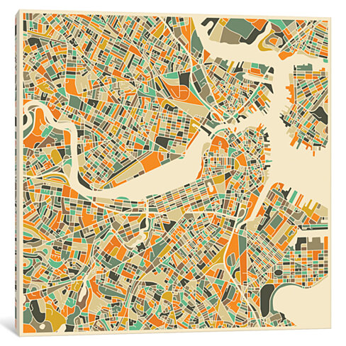 Abstract City Map of Boston by Jazzberry Blue