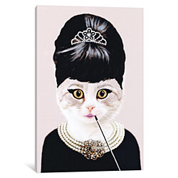 Audrey Hepburn Cat by Coco de Paris Canvas Print