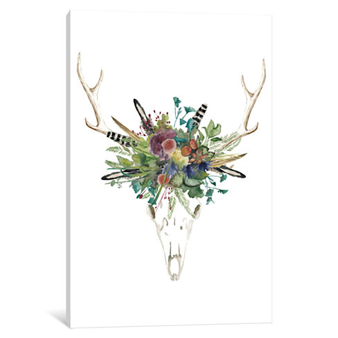 Deer Skull & Flowers II by Naomi McCavitt Canvas Print