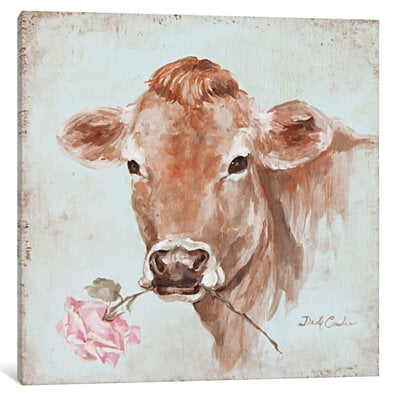 French Farmhouse Series: Cow With Rose by Debi Coules