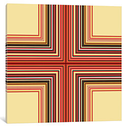 Mid Century Modern Art- Geometric Pattern Cross by 5by5collective Canvas Print