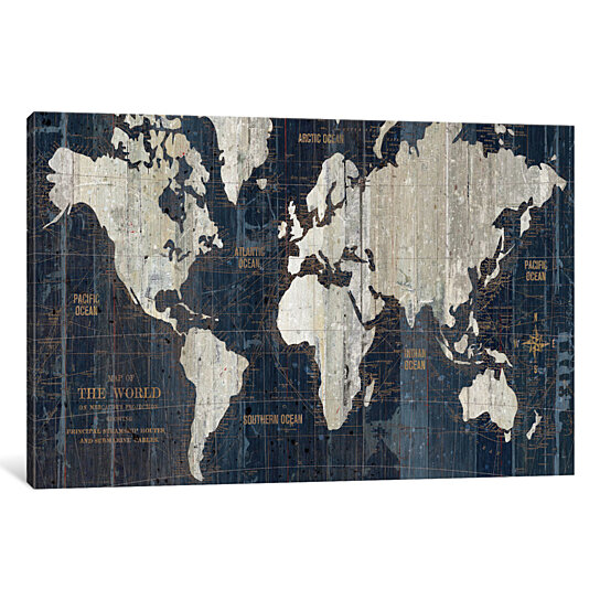 Buy Old World Map Blue by Wild Apple Portfolio Canvas Print by ... Cheap World Map Canvas on