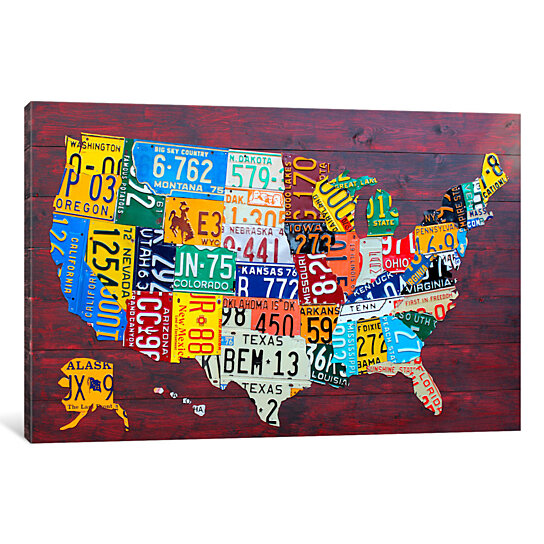USA Recycled License Plate Map VII by Design Turnpike