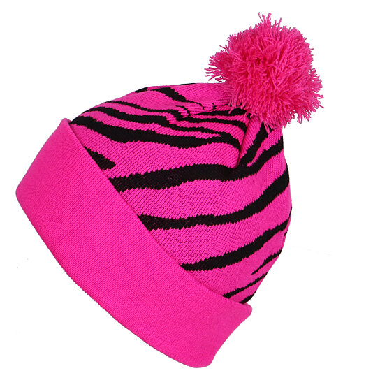 Zebra Print Knitting Pattern : Buy fashion zebra print pattern pom beanie cuffed knit