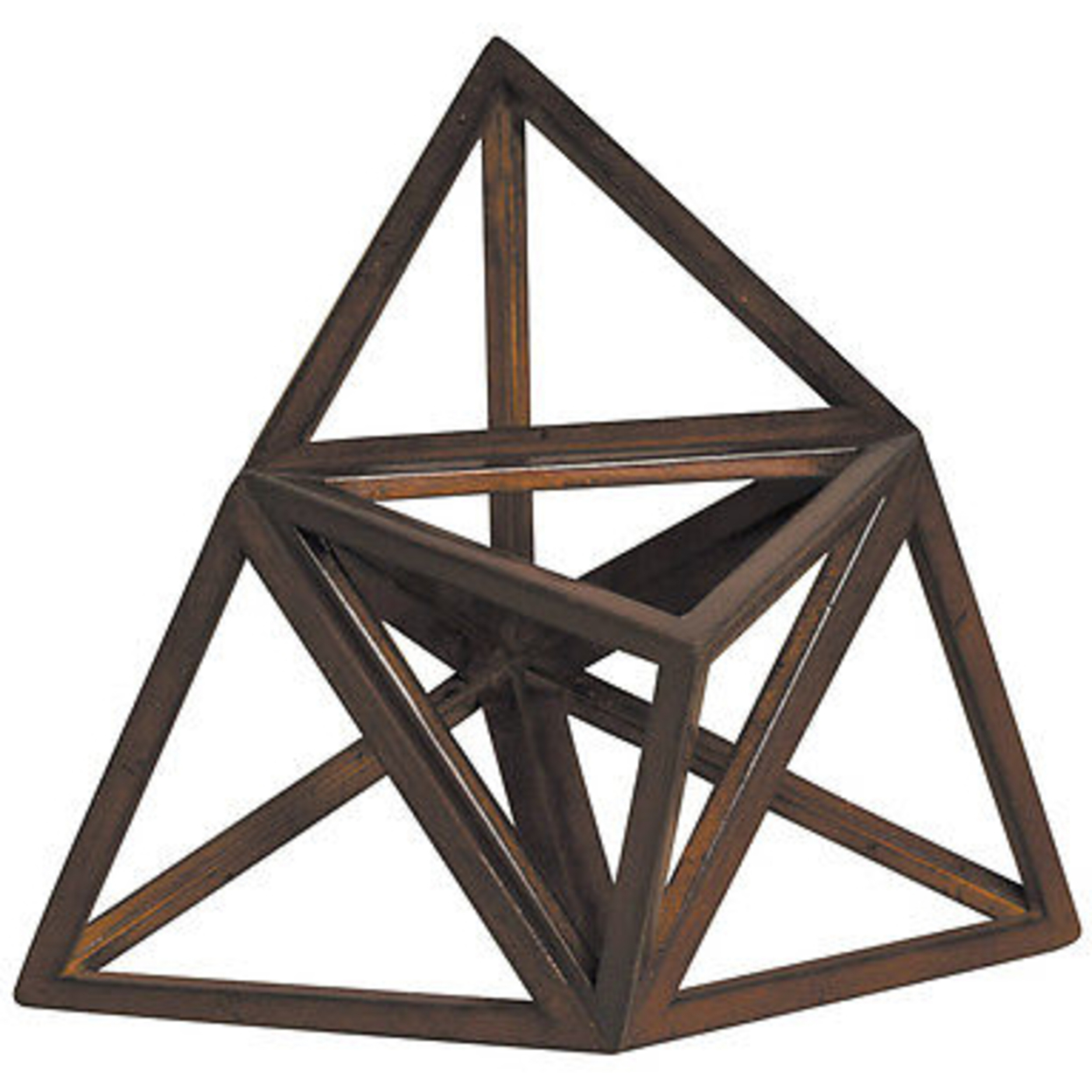 "Elevated Tetrahedron 3D Geometric Fire Wooden Model 8.5"" Polyhedron Home Accent 55b69a57a2771cb9688b646f"