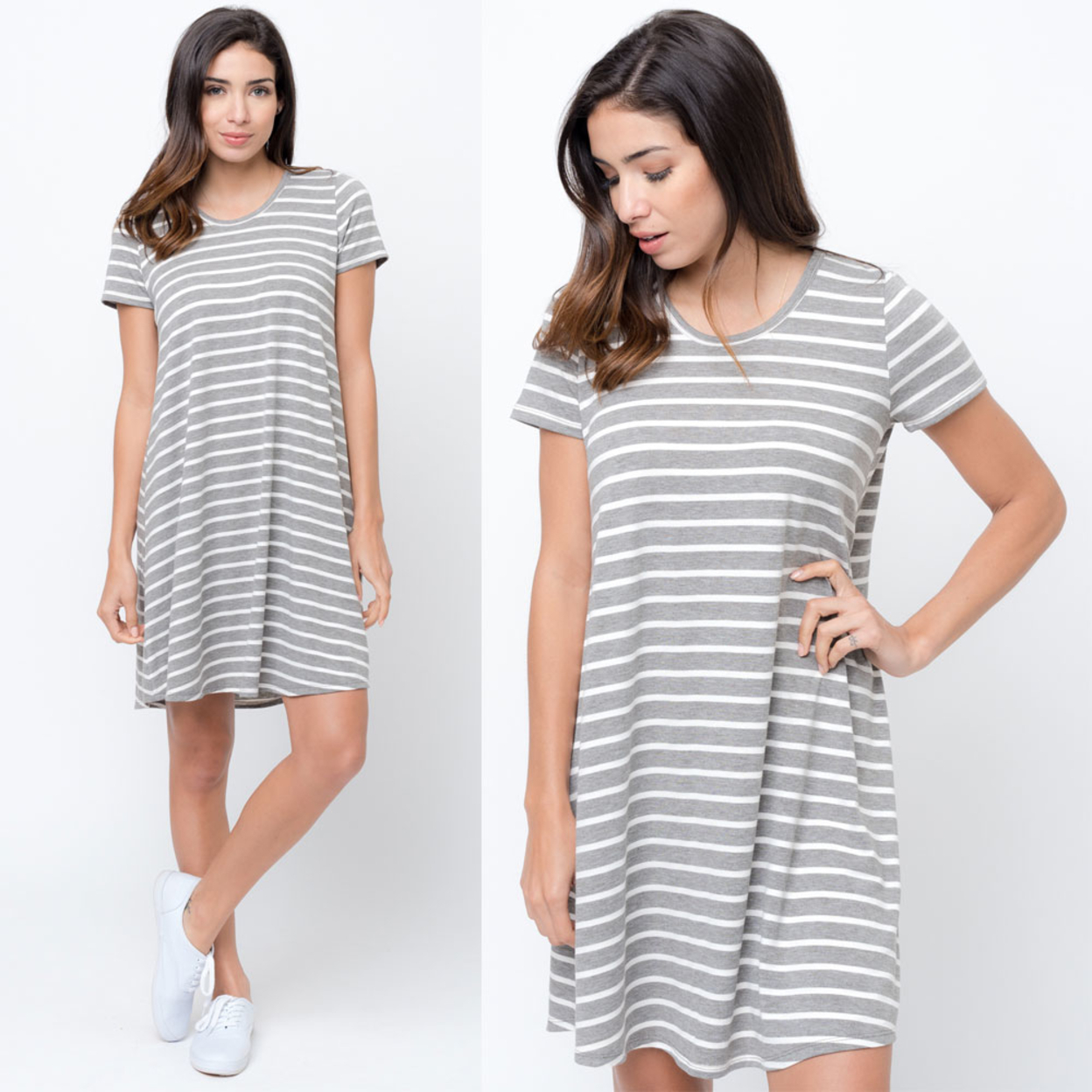 Caralase Striped Flared Tee Dress- 5 Colors Available - Heather Grey, Medium 5797f25b99336a3153463601