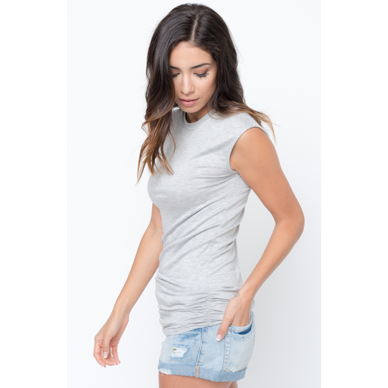 Sleeveless Side Ruched Tank - L, Heather Grey 59e7e997c98fc473cf5a7f6a
