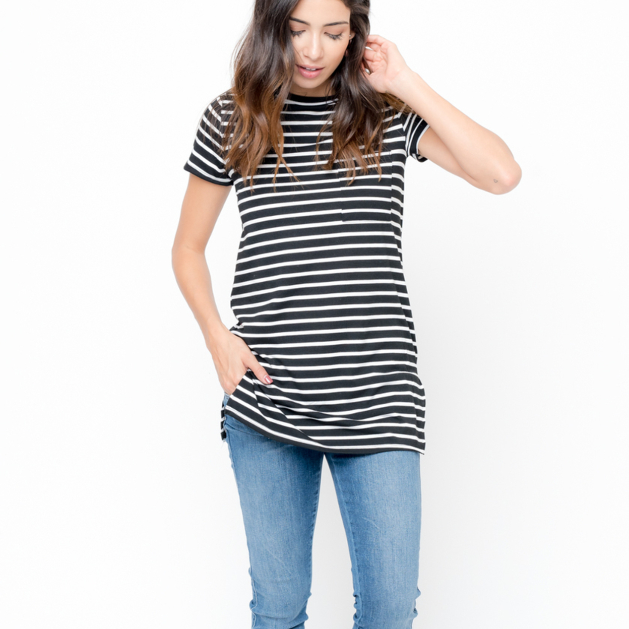 Striped Short Sleeve Tee - S, Black 59e7e9a0c98fc473cc378a57