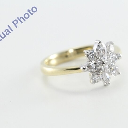 buy 14k yellow gold flower shaped marquise round cut diamond engagement ring ct f color. Black Bedroom Furniture Sets. Home Design Ideas