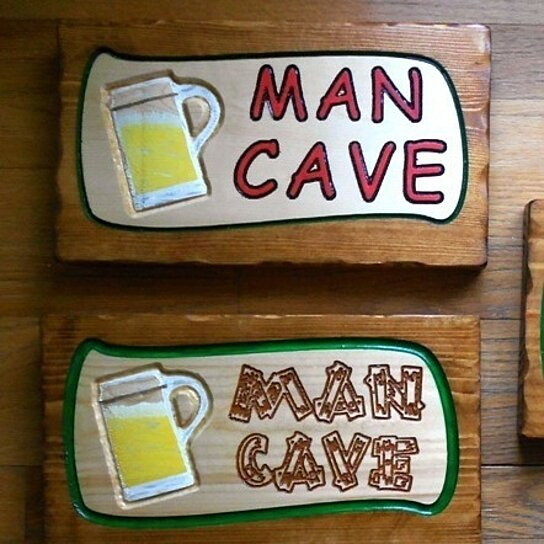 Man Cave Hair Products : Buy man cave sign thick pine carved by heart