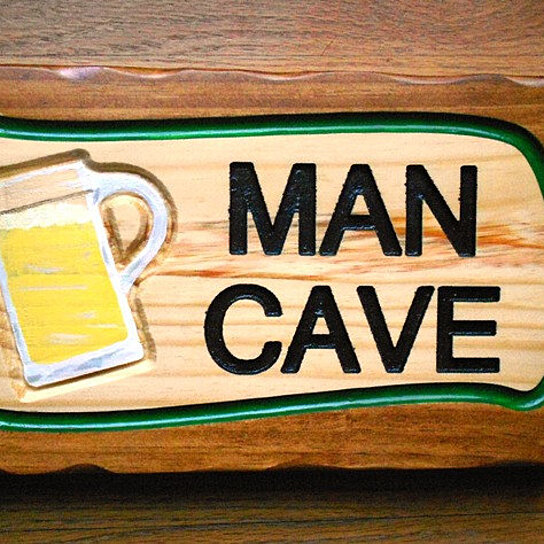 Hand Painted Man Cave Signs : Buy man cave sign thick pine carved by heart
