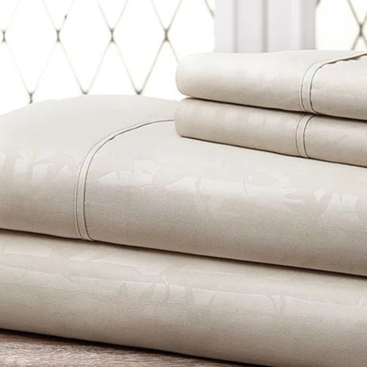 4-Piece Set: Super-Soft 1600 Series Bamboo Embossed Bed Sheet- 12 Colors - Bone, Full 57169db74e3d6f31448b4717