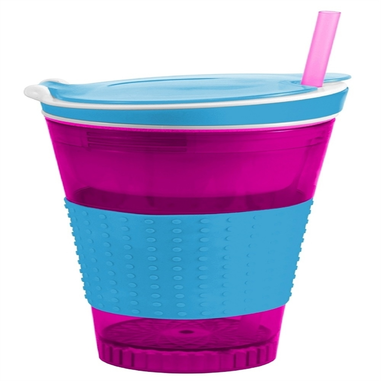 Two Elephants Snackeezer All-In-One Snack & Drink Cup with Lid - Assorted Colors - Pink & Blue 56c371d76f3d6fc6208b4ace