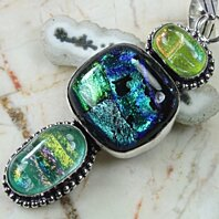 UNIQUE DICHROIC GLASS AND DRUZY PENDANT