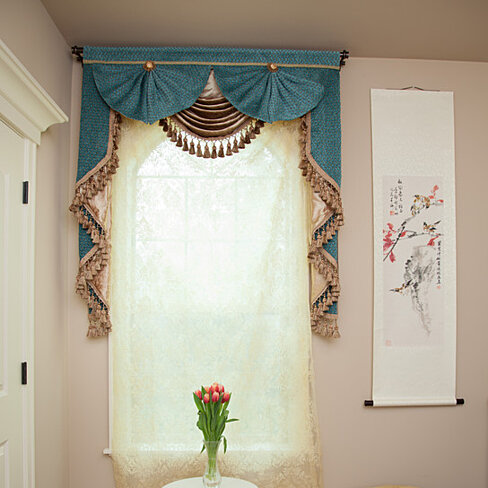 Buy blue salon 50 39 39 swag and tails valance curtains by celuce design on opensky - Curtains designs images ...