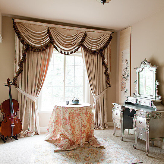 House living room curtains for Living room valances and swags