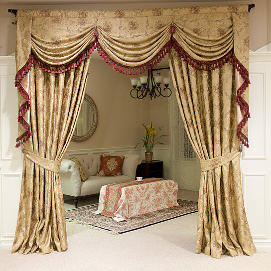 Buy Versailles Rose 100'' Swags And Tails Valance Curtains
