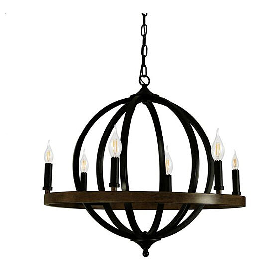Canyon Home 6 Light Chandelier Globe Matte Black Steel Sphere With Wood Patterned Decorative Circle Dining Room Foyer