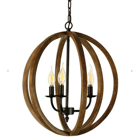 Canyon Home Rustic Globe Chandelier Light (3-Bulb) , Contemporary Steel Design with Wood Pattern Finish | Classic Home, Entryway