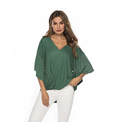 Modern Draped Bell Sleeve Faux Wrap Top, S-2X