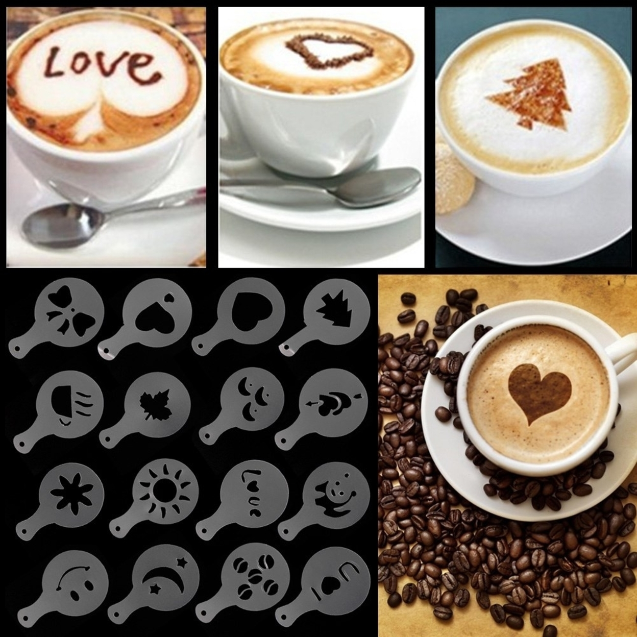Coffee Barista Stencils 16pc Set 569d55f5503d6f71458b4b4c