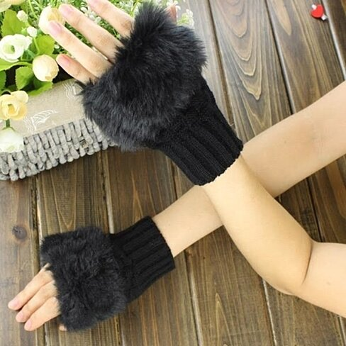 Fingerless Fur Gloves 2-Pair