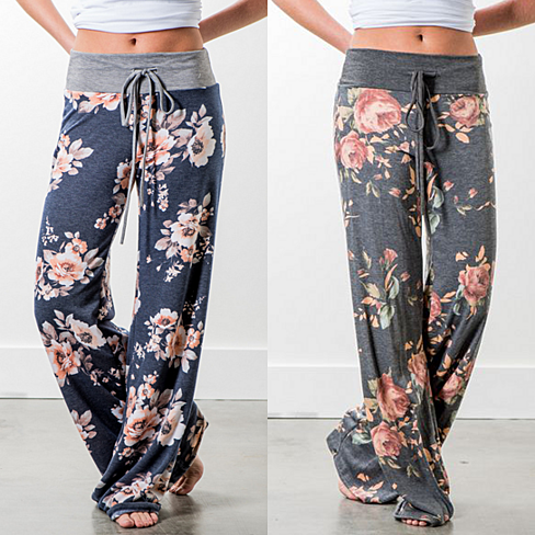 Floral Print Wide Leg Lounge Pants, S-3x, Multiple Prints