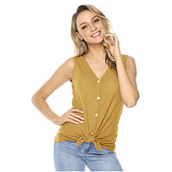 Button-Down Tie-Front Sleeveless Top, Mult. Colors