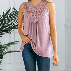 Lace Front Scoop Top