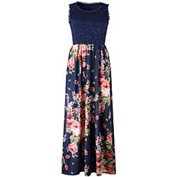 Lilly Posh Sleeveless Lace Top Maxi Dress
