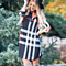 Plaid Tunic Dress with Roll Up Sleeves