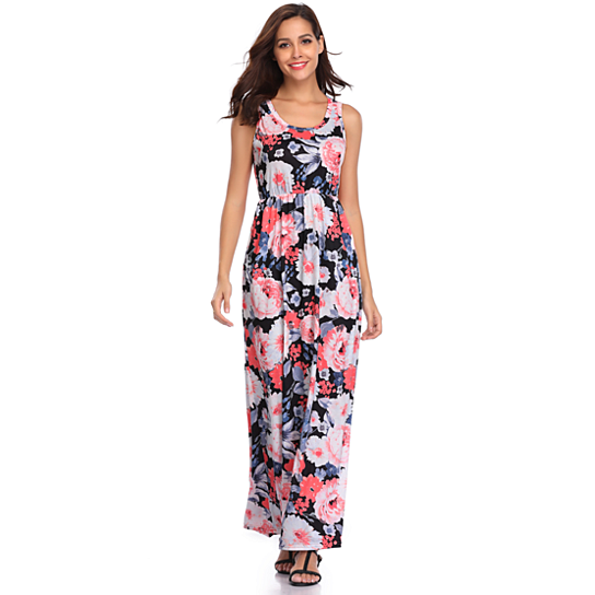 bb0df080f4a Trending product! This item has been added to cart 27 times in the last 24  hours. Women s Colorful Flower Print Maxi Dress Women s Colorful Flower ...