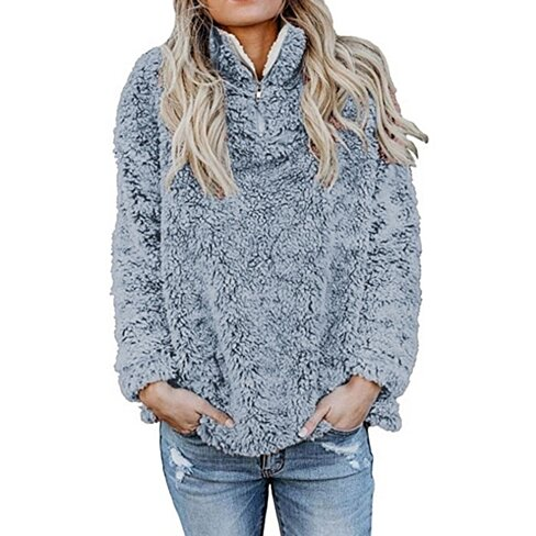 Furry Fleece Half Zip Pullover, Multiple Colors