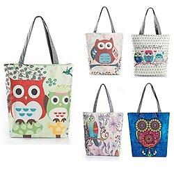27800a875e38 Fashion Cute Owl Floral Printed Canvas Tote Bag Female Casual Large  Capacity Bags Daily Use Handbags