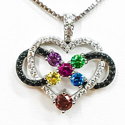 "NANA  Infinity love Pendant"" Mother & Child 1-5 Stones With a .80mm 22"" Adj."