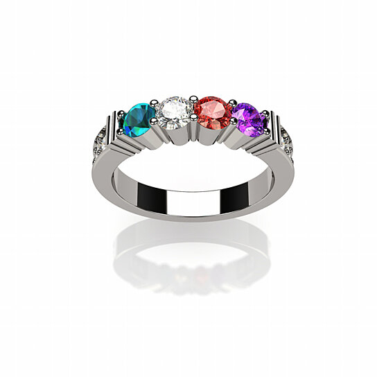 16ceec8330ec6 NANA Shared Prong w/side stones Mothers Ring 1 to 6 Stones in 14k
