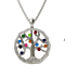 "NANA Tree of Life Mother's Pendant 1-12 Stones with a .07mm 22"" Adj. Box Chain"