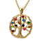 "NANA  Tree of Life Mother's Pendant 1-12 Stones with a 1mm 22"" Adj. Box Chain"