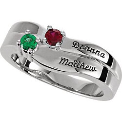 Personalized Mother's Birthstone Ring w/ Names Engraved & 1-4 Stones