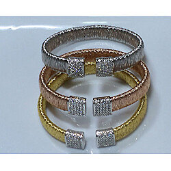 Sterling Silver 10mm Bangle Bracelet w/ CZs - White, Yellow or Rose Gold Plated