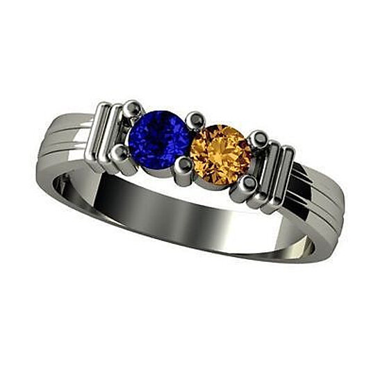 08663bdfcbff5 Sterling Silver 2 Stone Couples Share Prongs Simulated Birthstone Ring
