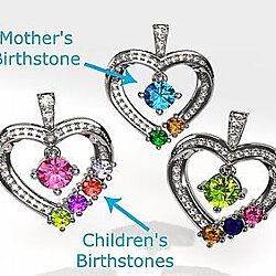 Sterling Silver Couples Pendant Heart(Birthstones) w/22 inch adj 1.0mm Box Chain