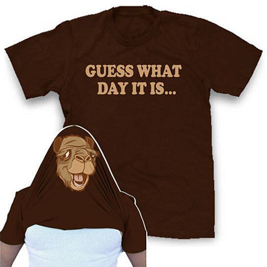Buy Hump Day Tshirt funny Guess what day it is shirt over the face tee by Cha...