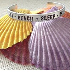 Eat, Beach, Sleep, Repeat Cuff Bracelet, Personalized Jewelry,